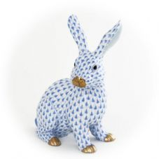 Herend Porcelain Fishnet Figurine of a Rabbit, Large